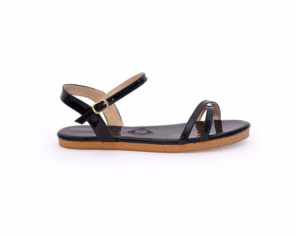 The Black Patent Nicolet Sandal Pre-Order - Heirloom Shoe Co. - 1