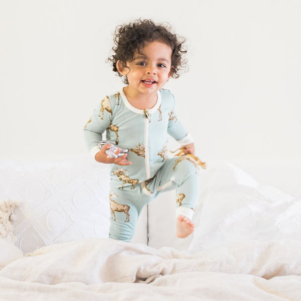 Blue Bird Bamboo Zipper Pajama