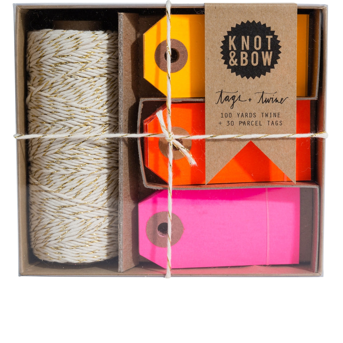 Gold Warm Neon Tag and Twine Box