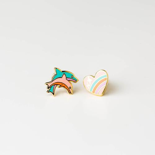 Heart and Dolphin Earrings