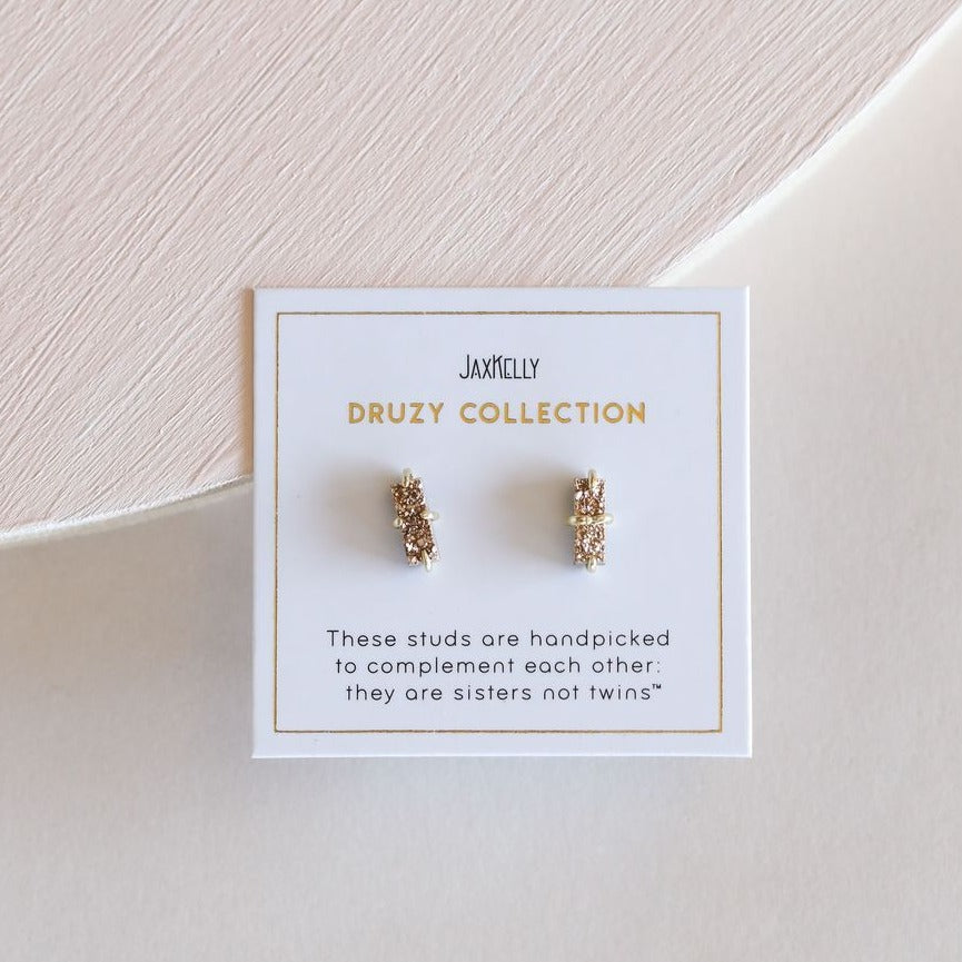 Rose Gold Bar Druzy Studs