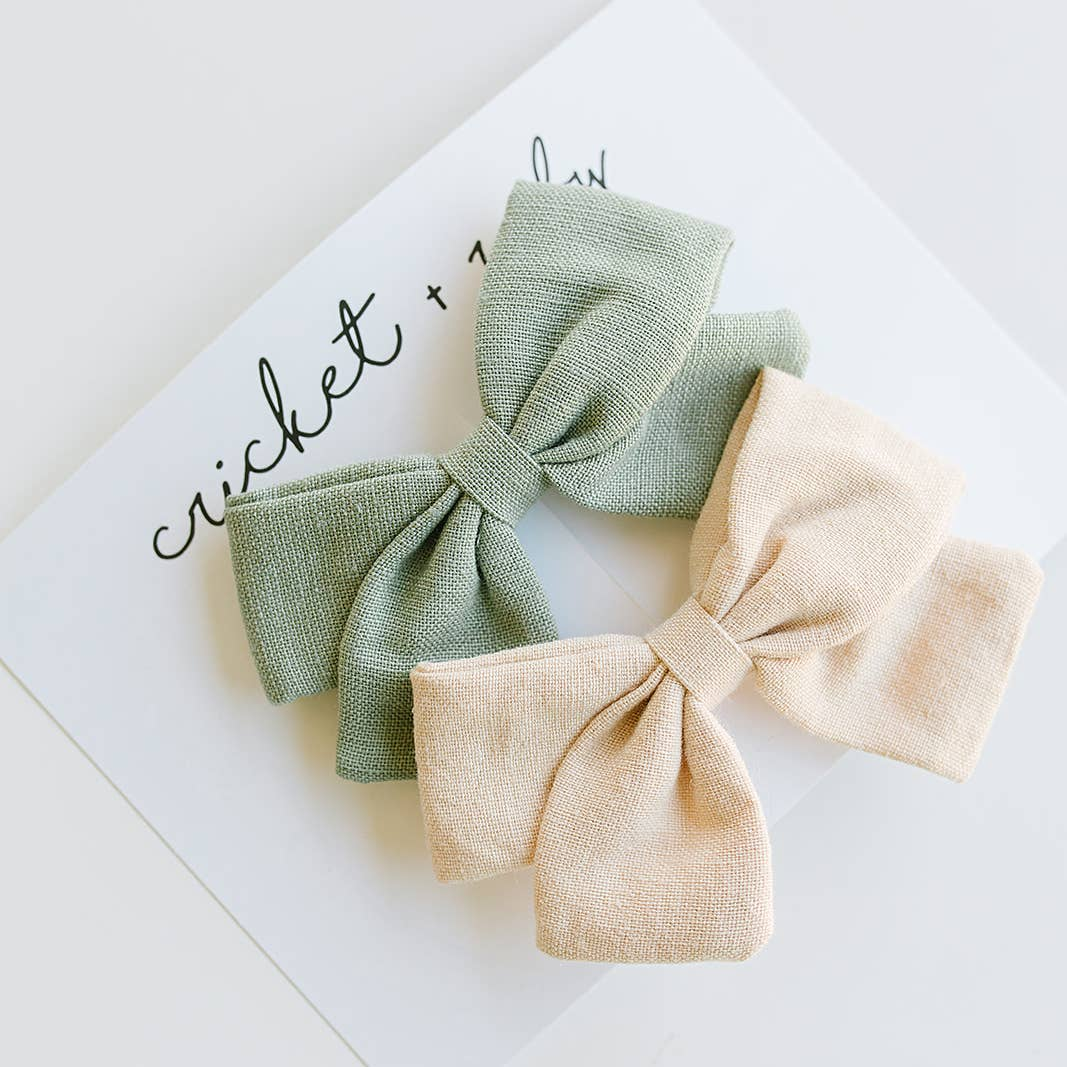 Sage & Tan Linen Bow Clips