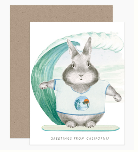 Surfer Bunny Card