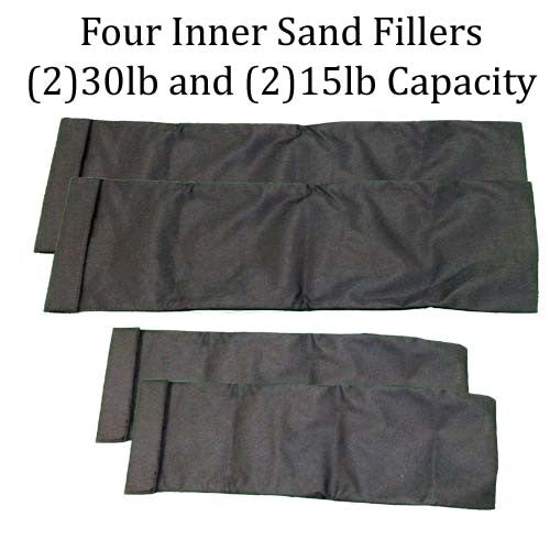 Four Pack Sandbag Training Sand Fillers - Two Medium with 30lb Capacity 27 X 9 inch -- Two Small with 15lb Capacity 19 X 7 inch