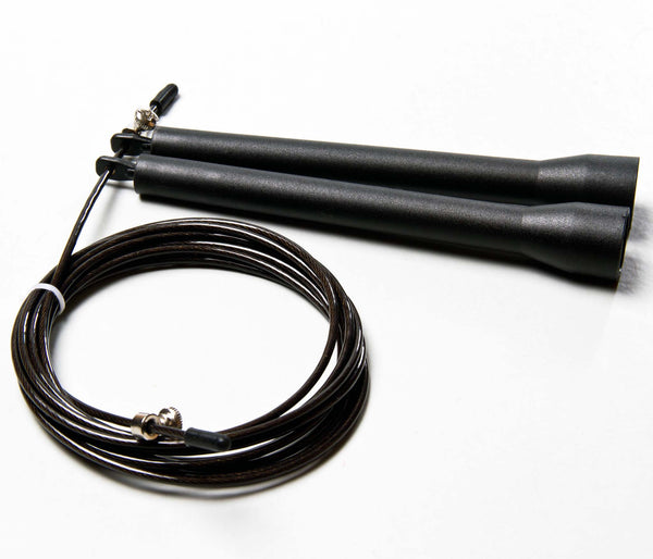 High Speed Cable Jump Rope - 10 feet long cable with fully adjustable length. Super fast and great for Double Unders - Black Intermediate