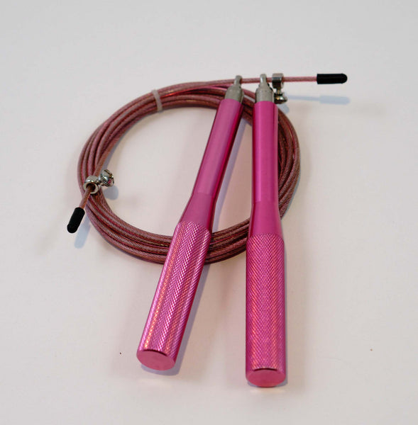 High Speed Cable Jump Rope - 10 feet long cable with fully adjustable length. Super fast and great for Double and Triple Unders - Pink Advanced
