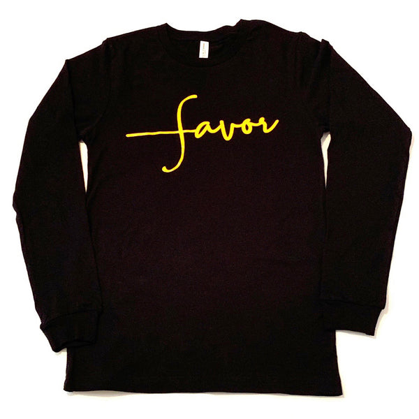 Favor Long-Sleeve Shirt Black & Gold - Jewellery Unique Gifts & Accessories
