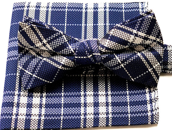 Blue and White Bowtie and Handkerchief Set
