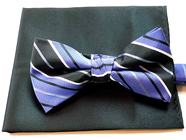 Purple and Black Bowtie and Handkerchief Set