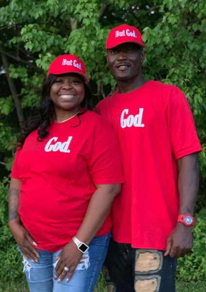 But God T-Shirt - Red and White