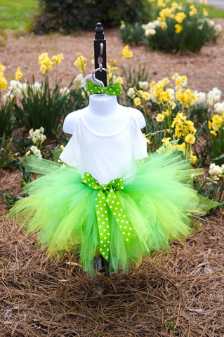 GREEN TUTU SKIRT & HAIR BOW