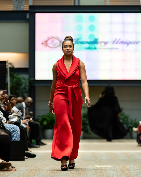 Red Sophisticated Belted Jumpsuit