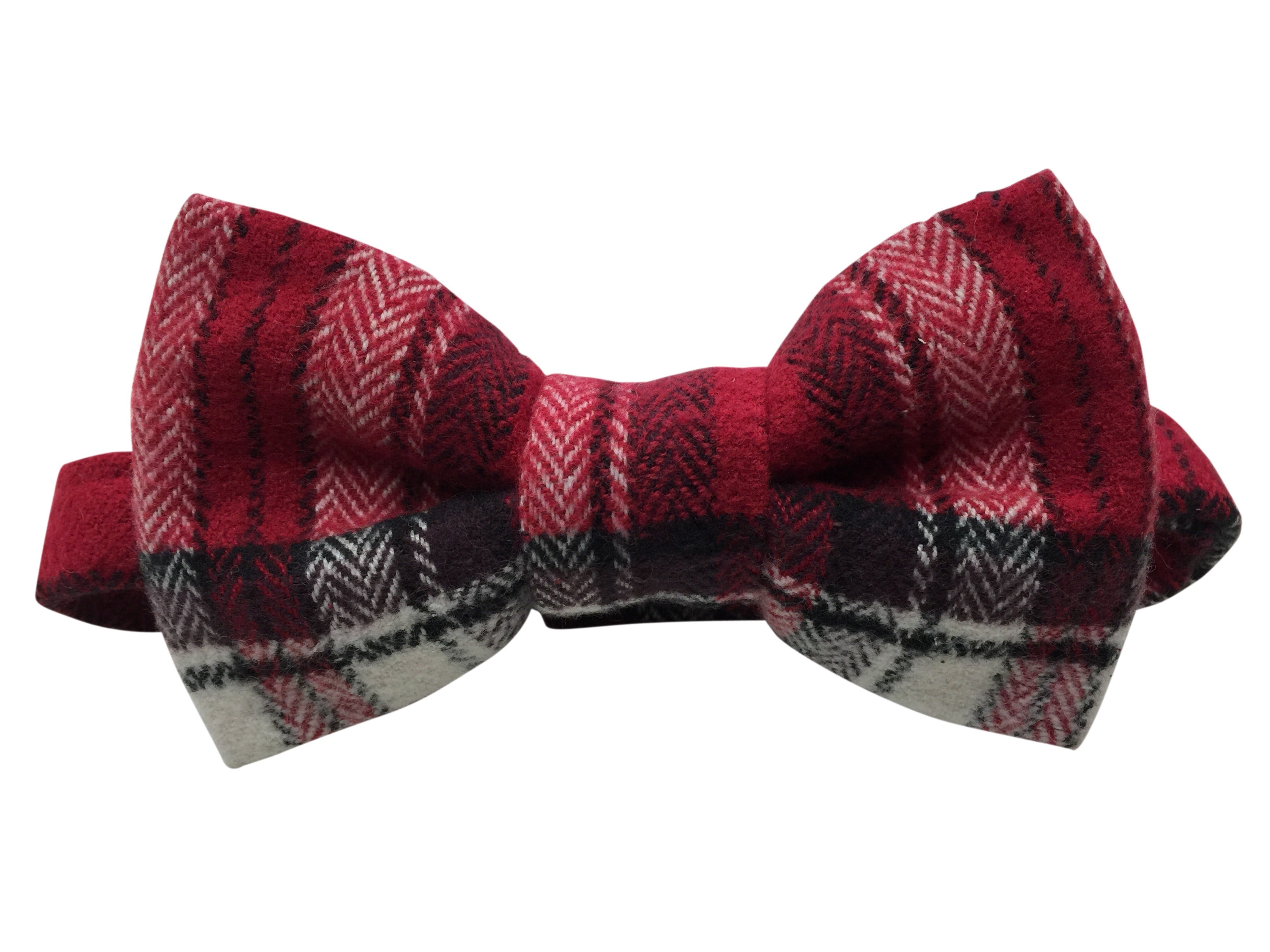 RED AND WHITE PLAID BOWTIE