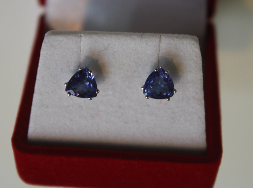 Tanzanite Trillion Earrings in 14 Kt. White Gold