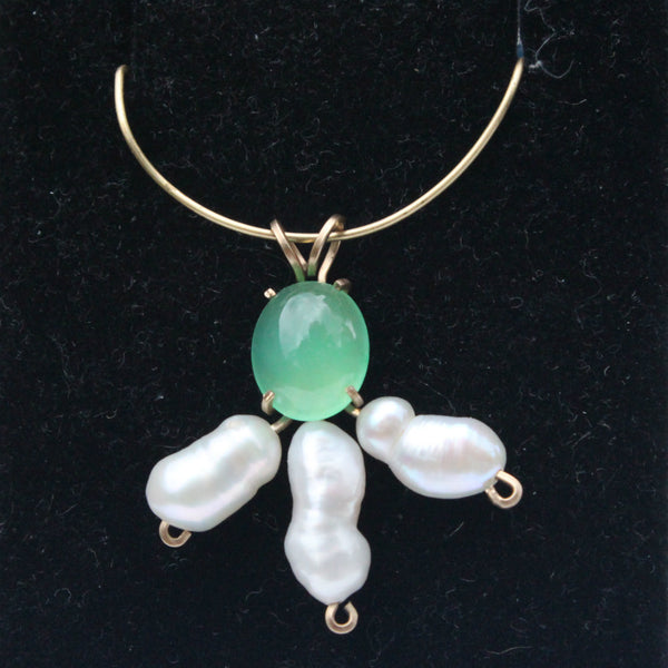 Chrysoprase and Pearl Gemstone Pendant - 14 Kt. Gold-Filled wire - Amazon Imports, Inc. - Fine Quality Gemstones and Jewelry Since 1978