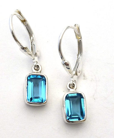 Swiss Blue Topaz Lever Back Earrings in  Sterling Silver Bezel Setting - Amazon Imports, Inc. - Fine Quality Gemstones and Jewelry Since 1978