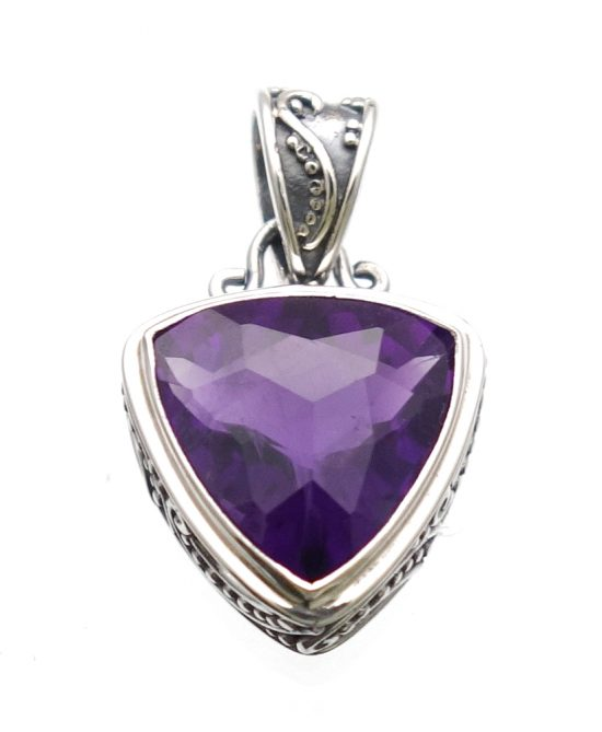 African Amethyst Trillion Checkerboard Cut in Sterling Silver Ornate Setting - Amazon Imports, Inc. - Fine Quality Gemstones and Jewelry Since 1978