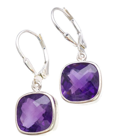 Amethsyt Checkerboard Cut Earrings in Sterling Silver Bezel Setting - Amazon Imports, Inc. - Fine Quality Gemstones and Jewelry Since 1978