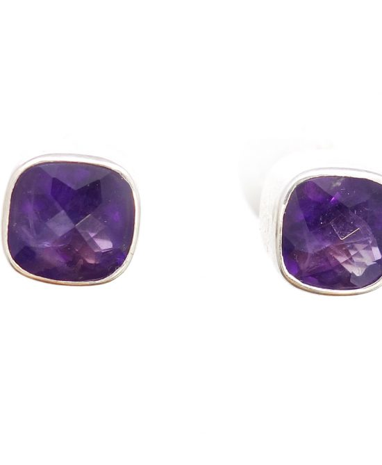 Amethyst Checkerboard Cut Post Earrings in Sterling Silver Bezel Setting - Amazon Imports, Inc. - Fine Quality Gemstones and Jewelry Since 1978