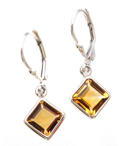 Citrine Gemstone Square Cut in Sterling Silver Bezel Setting - Amazon Imports, Inc. - Fine Quality Gemstones and Jewelry Since 1978