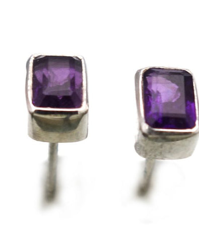 Amethyst Post Earrings in Sterling Silver Bezel Setting - Amazon Imports, Inc. - Fine Quality Gemstones and Jewelry Since 1978