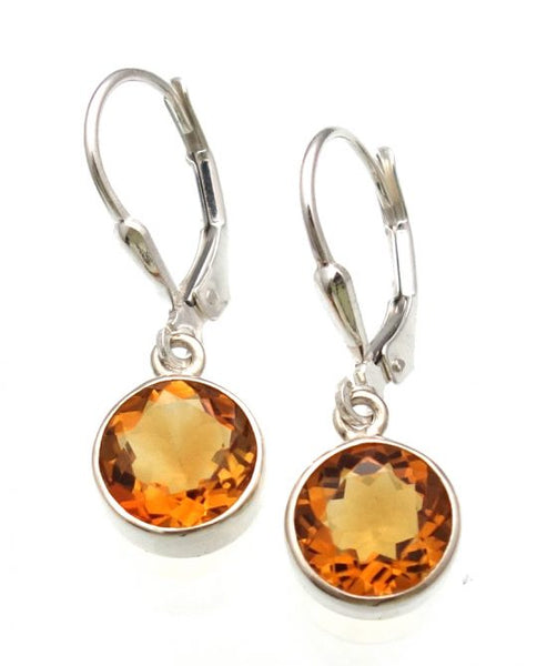 Citrine Lever Back Earrings in Sterling Silver Bezel Setting - Amazon Imports, Inc. - Fine Quality Gemstones and Jewelry Since 1978