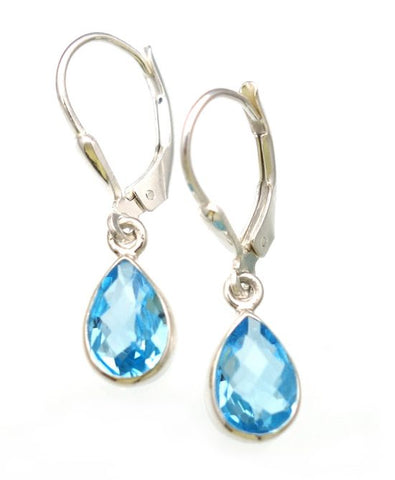 Swiss Blue Topaz Checkerboard Cut Earrings in Sterling Silver Bezel Setting - Amazon Imports, Inc. - Fine Quality Gemstones and Jewelry Since 1978