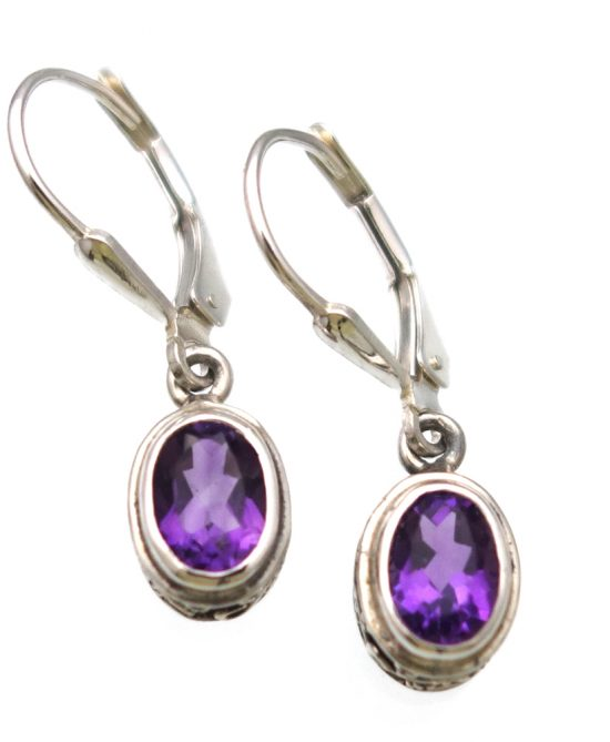 African Amethyst Checkerboard Cut Earrings in Sterling Silver Ornate Setting - Amazon Imports, Inc. - Fine Quality Gemstones and Jewelry Since 1978