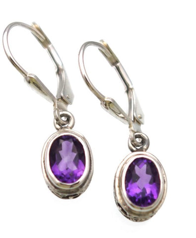 Amethyst Checkerboard Cut Earrings in Sterling Silver Ornate setting - Amazon Imports, Inc. - Fine Quality Gemstones and Jewelry Since 1978