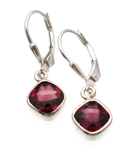African Garnet Checkerboard Cut Earrings in Sterling Silver Bezel Setting - Amazon Imports, Inc. - Fine Quality Gemstones and Jewelry Since 1978