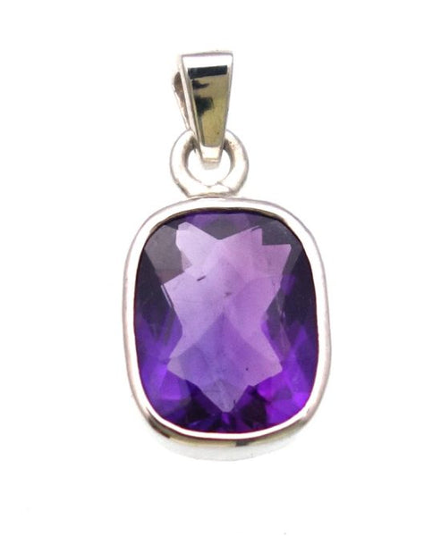 African Amethyst Checkerboard Cut Pendant in Sterling Silver Bezel Setting - Amazon Imports, Inc. - Fine Quality Gemstones and Jewelry Since 1978