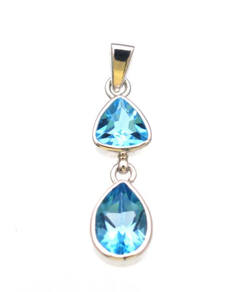Swiss Blue Topaz Pendant in Sterling Silver Bezel Setting - Amazon Imports, Inc. - Fine Quality Gemstones and Jewelry Since 1978