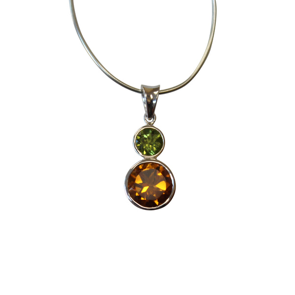 Citrine & Peridot Gemstone Pendant in Sterling Silver - Amazon Imports, Inc. - Fine Quality Gemstones and Jewelry Since 1978