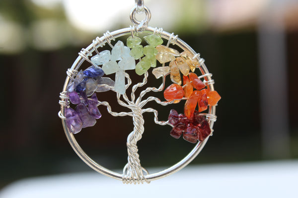 7 Chakra Tree of Life Gemstone Circle Pendant - Multi Color - Amazon Imports, Inc. - Fine Quality Gemstones and Jewelry Since 1978