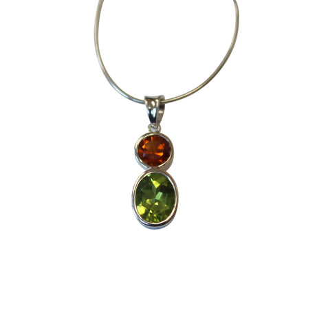 Peridot & Citrine Gemstone Pendant in Sterling Silver - Amazon Imports, Inc. - Fine Quality Gemstones and Jewelry Since 1978