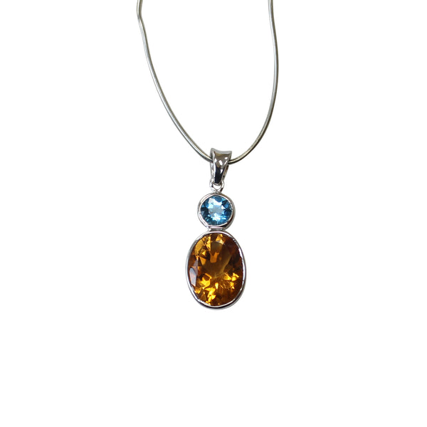 Citrine & Blue Topaz Gemstone Pendant in Sterling Silver - Amazon Imports, Inc. - Fine Quality Gemstones and Jewelry Since 1978