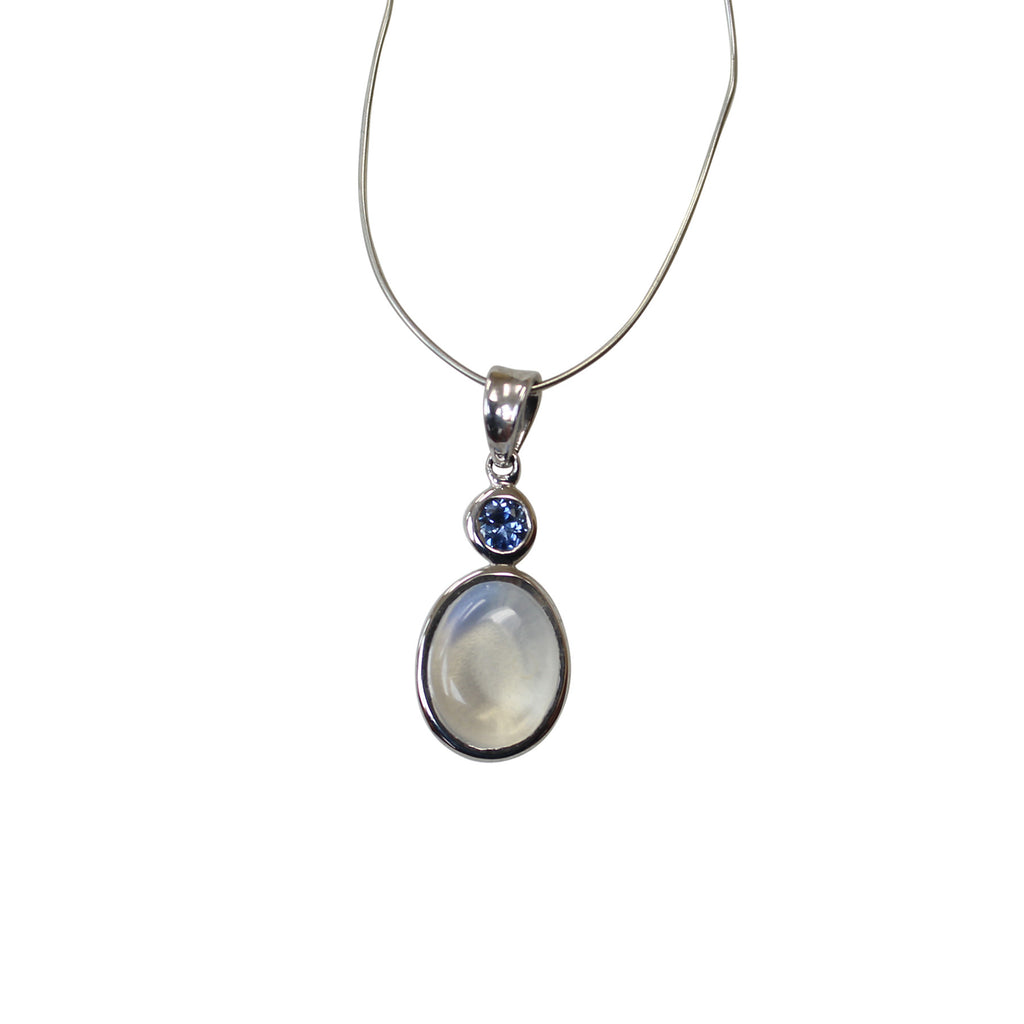 Moonstone sapphire gemstone pendant in sterling silver amazon moonstone sapphire gemstone pendant in sterling silver mozeypictures Gallery