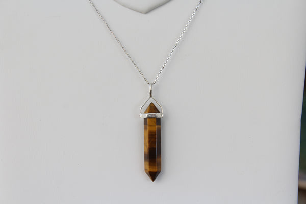 Tiger's Eye Double Terminated Point Sterling Silver Pendant w/ Rhodium Plated Sterling Silver Chain - Amazon Imports, Inc. - Fine Quality Gemstones and Jewelry Since 1978