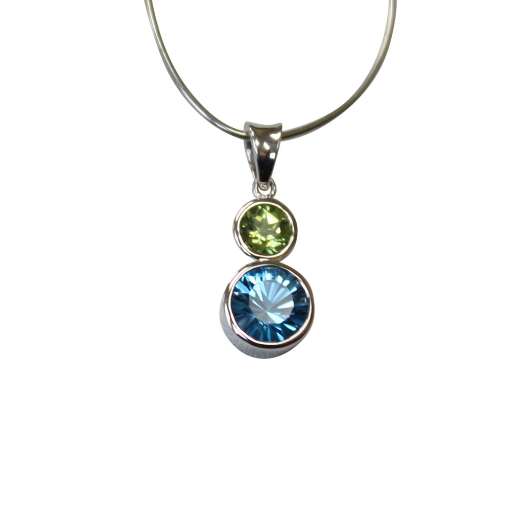Blue topaz peridot gemstone pendant bezel set in sterling silver blue topaz peridot gemstone pendant bezel set in sterling silver mozeypictures Gallery