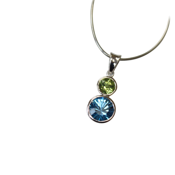Blue Topaz & Peridot Gemstone Pendant Bezel Set in Sterling Silver - Amazon Imports, Inc. - Fine Quality Gemstones and Jewelry Since 1978