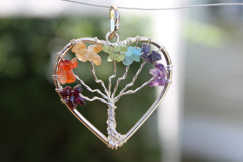 Heart Shape 7 Chakra Tree of Life Gemstone Pendant - Multi Color - Amazon Imports, Inc. - Fine Quality Gemstones and Jewelry Since 1978