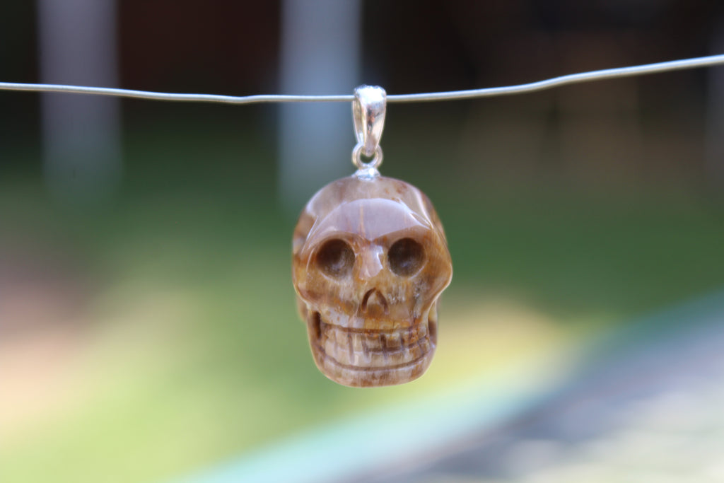 Brown Jasper Gemstone Carved Skull Pendant - Amazon Imports, Inc. - Fine Quality Gemstones and Jewelry Since 1978