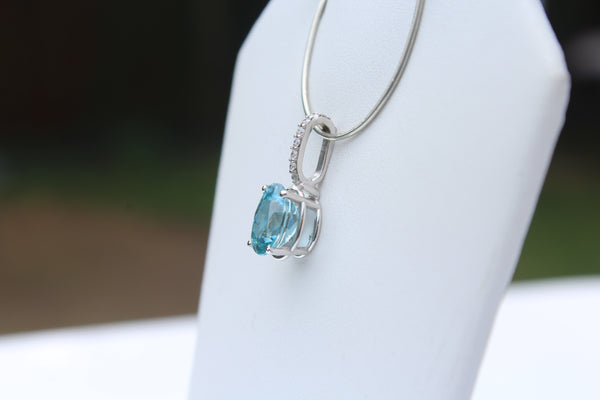 Blue Zircon Gemstone Pendant with Diamonds in 14kt White Gold - Amazon Imports, Inc. - Fine Quality Gemstones and Jewelry Since 1978
