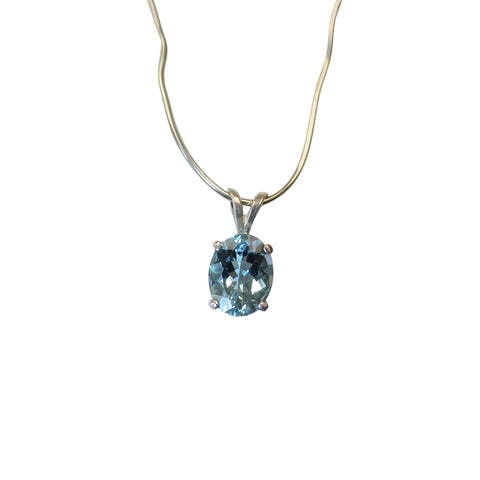 Aquamarine Gemstone Pendant in Sterling Silver - Amazon Imports, Inc. - Fine Quality Gemstones and Jewelry Since 1978