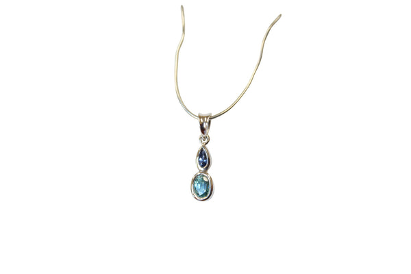 Blue Zircon & Sapphire Gemstone Pendant in Sterling Silver - Amazon Imports, Inc. - Fine Quality Gemstones and Jewelry Since 1978