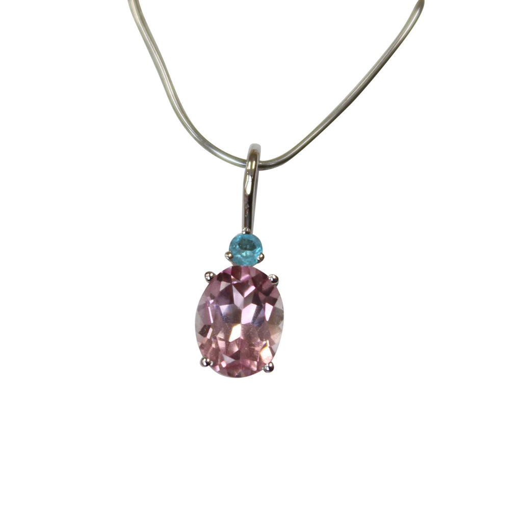 Pink Tourmaline & Paraiba Gemstone Pendant in 14kt. White Gold - Amazon Imports, Inc. - Fine Quality Gemstones and Jewelry Since 1978