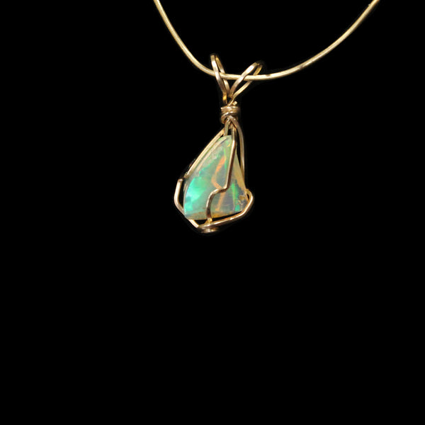 Ethiopian Opal Gemstone Pendant -  14kt Gold Filled wire - Amazon Imports, Inc. - Fine Quality Gemstones and Jewelry Since 1978