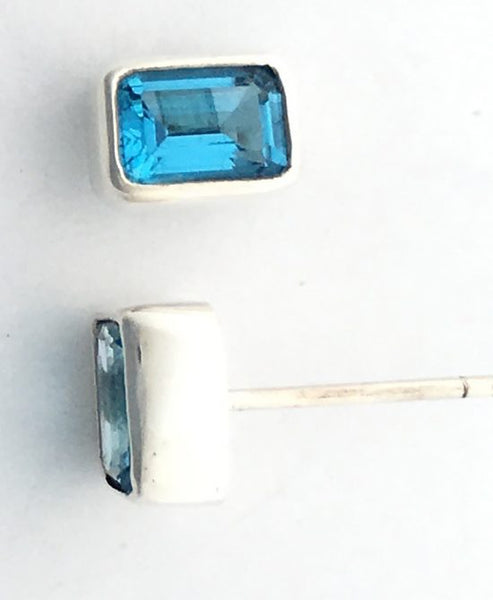 Blue Topaz Post Earrings in Sterling Silver Bezel Setting - Amazon Imports, Inc. - Fine Quality Gemstones and Jewelry Since 1978