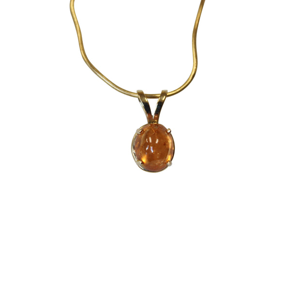 Mandarin Garnet Cabachon Gemstone in 14 kt. Gold - Amazon Imports, Inc. - Fine Quality Gemstones and Jewelry Since 1978