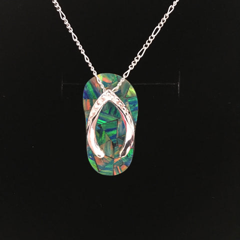 "Sandal ""Flip Flop"" Opal Pendant in Sterling - medium size - Amazon Imports, Inc. - Fine Quality Gemstones and Jewelry Since 1978"